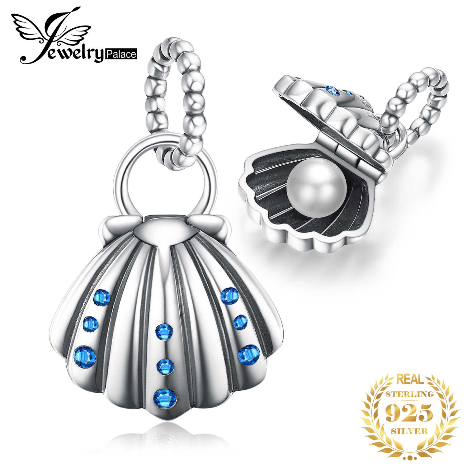 JewelryPalace Shell Pearl 925 Sterling Silver Beads Charms Silver 925 Original For Bracelet Silver 925 original Jewelry Making
