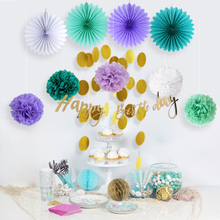 13pcs Mermaid Party  Happy Birthday Girl Decorations With Gold Banner Circle Garland Supplies