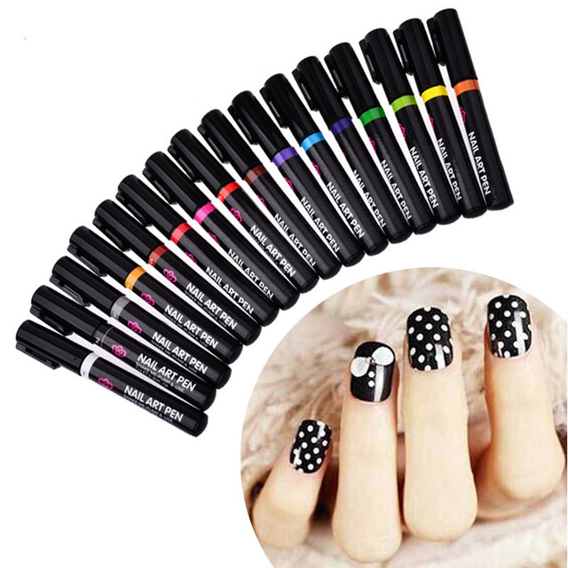 16 Colors Nail Art Pen For 3d Nail Art Diy Decoration Nail Polish