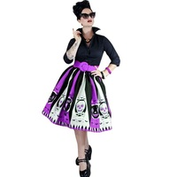 2017 New Fashion 90 Cotton Women Knee Length Print Patchwork Halloween Skirts EuroPea And American Style