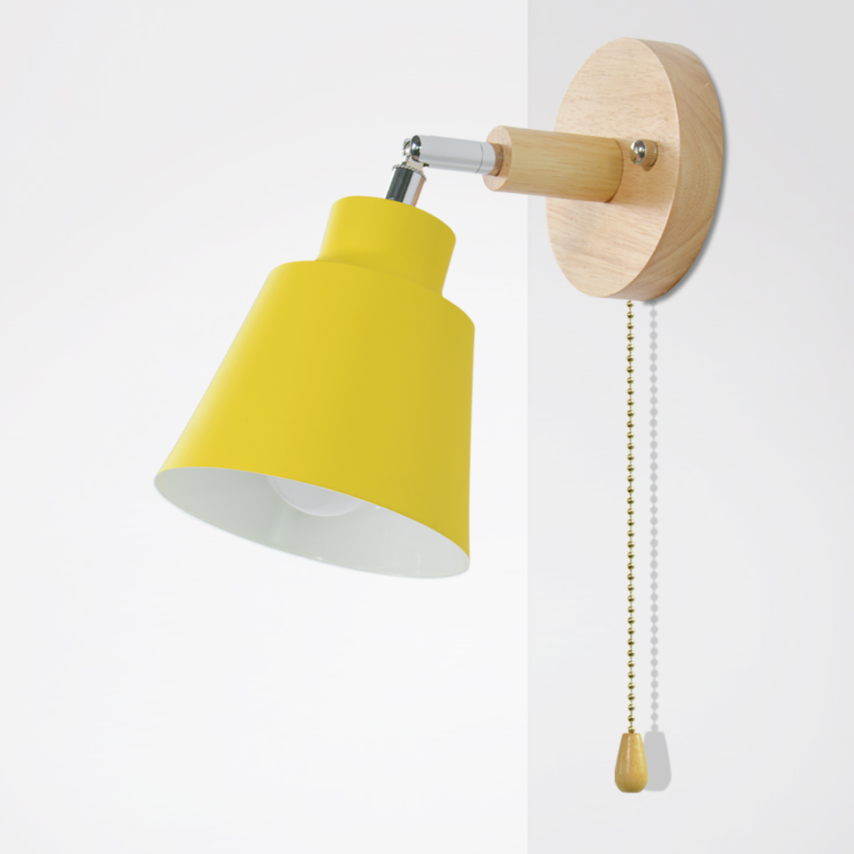 Nordic Wooden Wall Lamp Bedside Wall Lamp E27 Sconce Wall Light For Bedroom Corridor 4 Color With Zip Switch Freely Rotatable