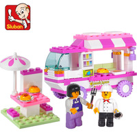 Little Luban building blocks 0155 pink dream girl assembled fast food car children puzzle assembled toys