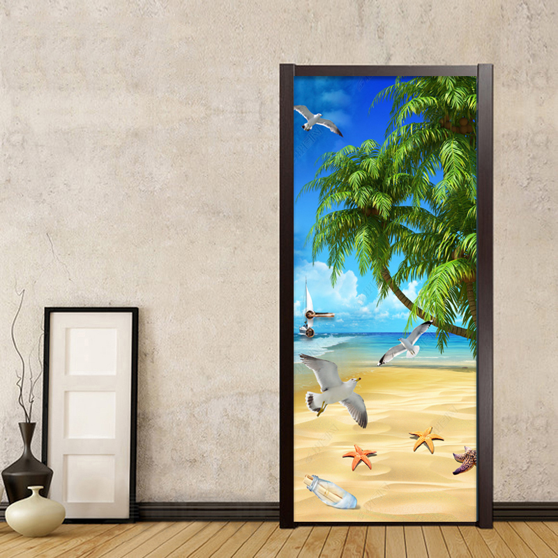 Modern Sunshine Palm Beach Photo 3D Mural Wallpaper Dining Room Living Room PVC Self-Adhesive Waterproof DIY Door Sticker Murals battlefield 3 или modern warfare 3 что