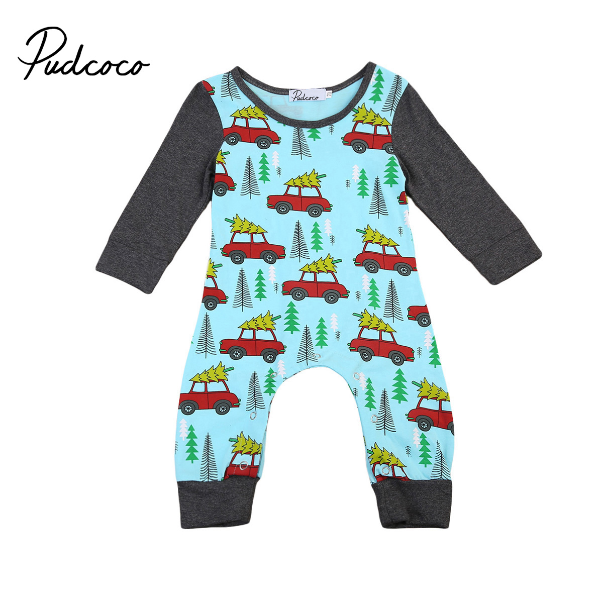 Pudcoco Newborn Infant Baby Boys Girls Clothing Xmas Cars Printed Long Sleeve Romper Jumpsuit Fall Cotton One-Piece Outfit pudcoco newborn infant baby girls clothes short sleeve floral romper headband summer cute cotton one piece clothes