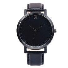 2017 Black simple mens watches top brand luxury Retro Design sport Leather Band Analog Alloy Quartz Wrist Watch reloj hombre