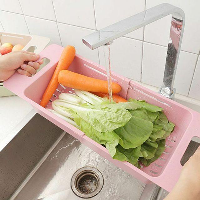 Regulowany zlew woda filtracja Rack Organizer do kuchni zlew z tworzywa sztucznego kosz spustowy warzywa koszyk na owoce regał magazynowy