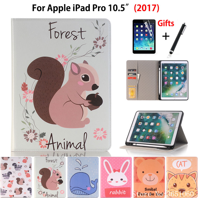 Case For Apple Ipad Pro 10.5 2017 A1701 A1709 Cover Funda With Pencil Holder Silicone Cartoon Animal Pattern +Film+Pen