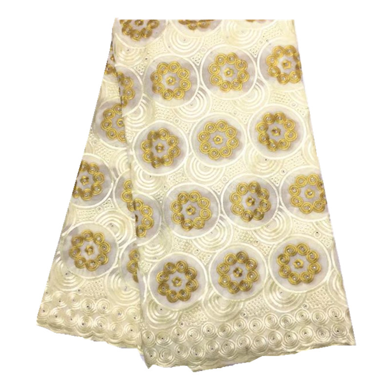 Swiss Voile Laces Switzerland High Quality Dry Cotton African French Lace With Stones Lace Fabric For Men and women WKS60-26