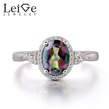 Leige Jewelry Mystic Topaz 925 Sterling Silver Ring Fine Gemstone Birthstone Oval Cut Engagement Promise Ring Gifts for Women