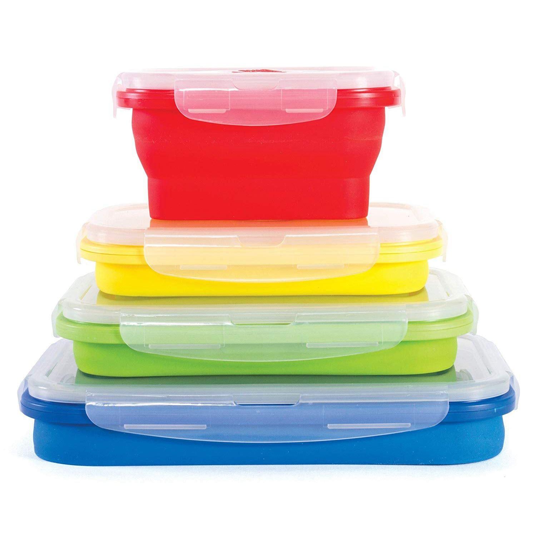 Sottile Bidoni Pieghevole Contenitori-Set di 4 In Silicone Alimentare Contenitori Di Stoccaggio-BPA Libero, Forno A Microonde, lavastoviglie e Freezer Sicuro