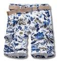 Размер 29-38 Летний Стиль мужская Мода Одежда Синие Листья Окрашены Печати Шорты Повседневные Прямые Молния Fly Хлопок шорты Homme