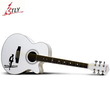 Hot SAYSN 40″ Art Acoustic Guitar Basswood 6 Strings Hand Painting Guitarra for Music Lovers Beginner Students