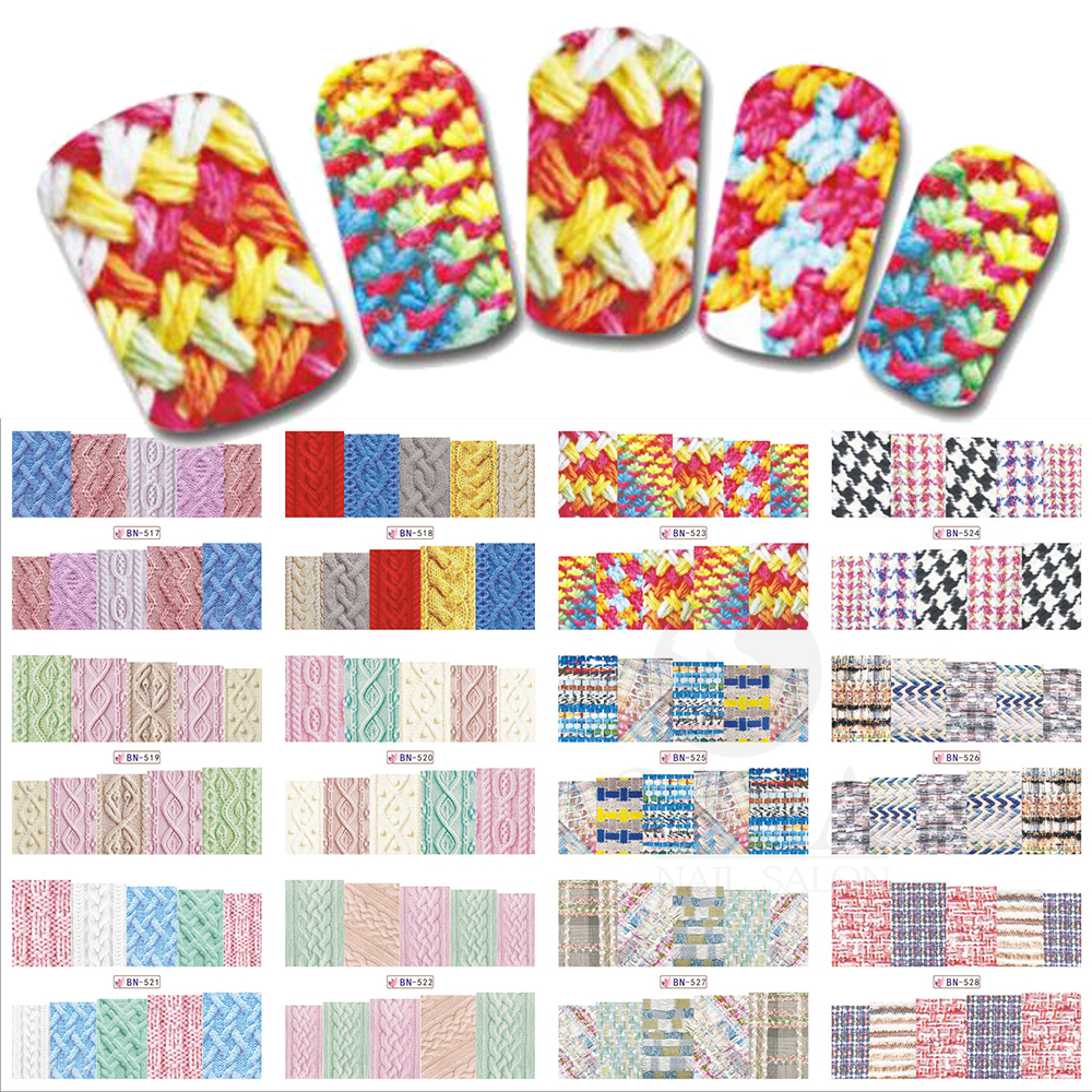 12 Designs/Set Beauty Winter Sweater Design Nail Art Sticker Decals Nails Decorations DIY Tattoos Manicure Tools SABN517-528 24 manicure designs colorful hello kitty nail stickers nails diy beauty decorations tools for 3d nail art jh156 nail art tools