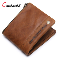 CONTACT S Men Wallets Crazy Horse Cowhide Leather Men Short Wallet Coin Purse Male Genuine Leather