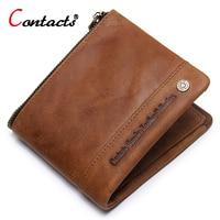 CONTACT S Men Wallets Crazy Horse Cowhide Leather Men Short Wallet Coin Purse Male Genuine Leather