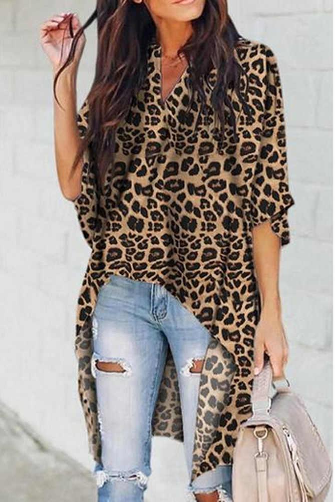 ファッション女性レディース夏長袖シャツゆるいカジュアルなヒョウトップス Tシャツ