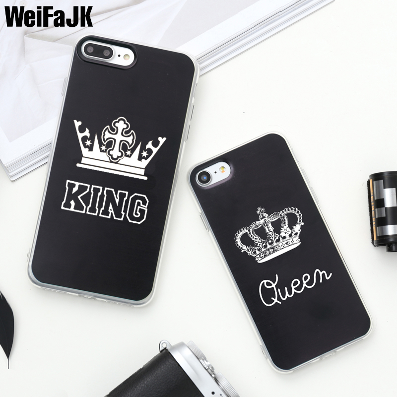 WeiFaJK King Queen Patterned Silicone Case For iPhone 6 6s Plus 7 8 Cases Soft TPU Cover For iPhone 5 5s SE 6 6s 7 8 Plus X Case