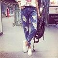 Feminino Denim Calças Causul Mulheres Jeans Rasgado