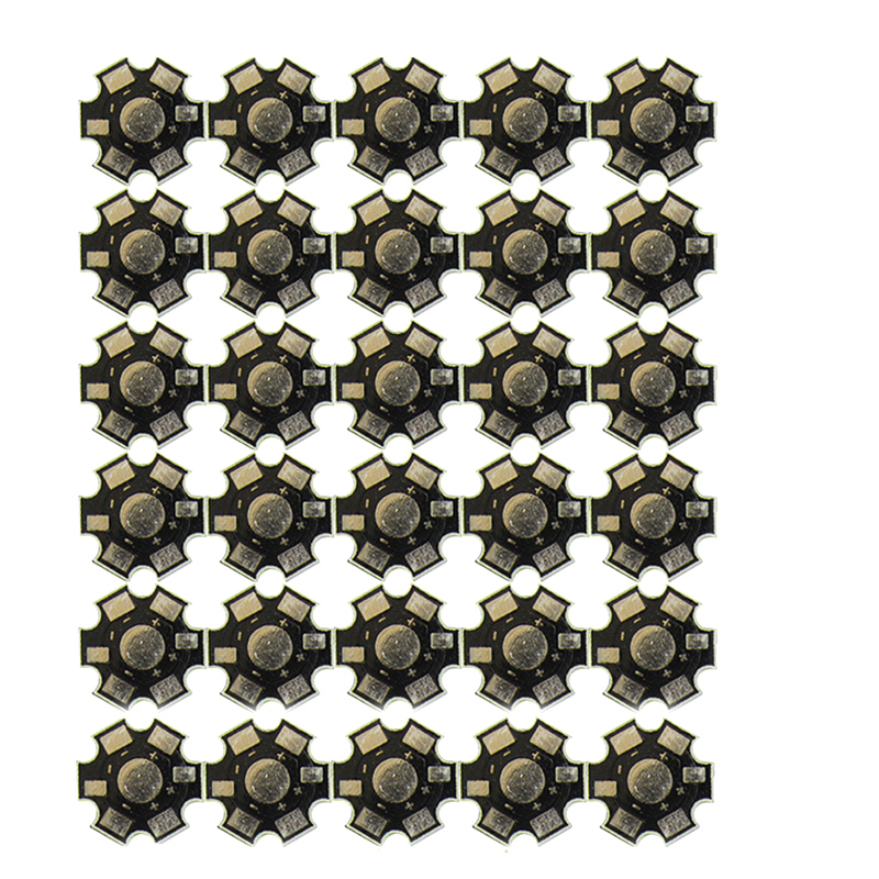 30pcs/lot Conjoined LED Star PCB Board Substrate For 1W 3W 5W Single LEDS Heatsink 20mm White Black Aluminum Base Plate