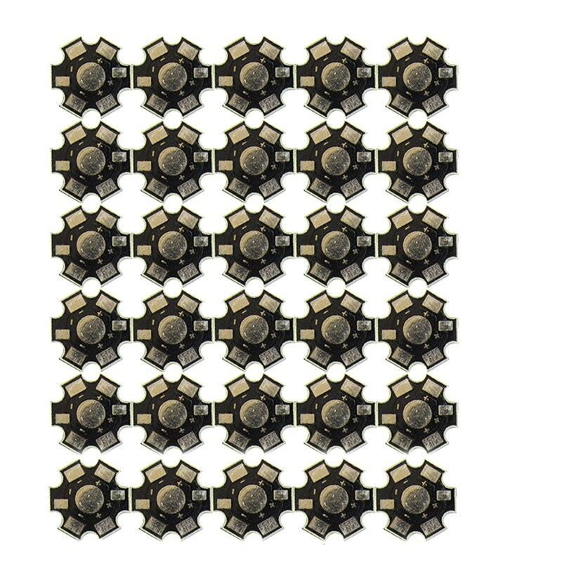 30pcs/lot Conjoined LED Star PCB Board Substrate For 1W 3W 5W Single LEDS Heatsink 20mm White Black Aluminum Base Plate