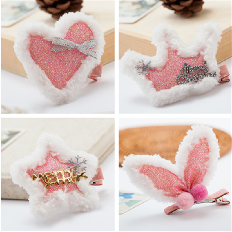 Korea Winter Christmas Hairpin Cartoon Rabbit Hair Clip For Girls Hairball Flower Colorful Barrettes Hair Bows Hair Accessories