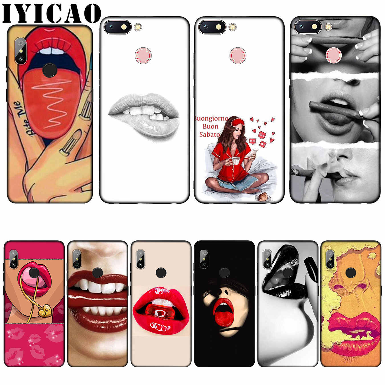 IYICAO Sexy Girl red Lips Kiss Silicone Soft Case for Xiaomi Redmi