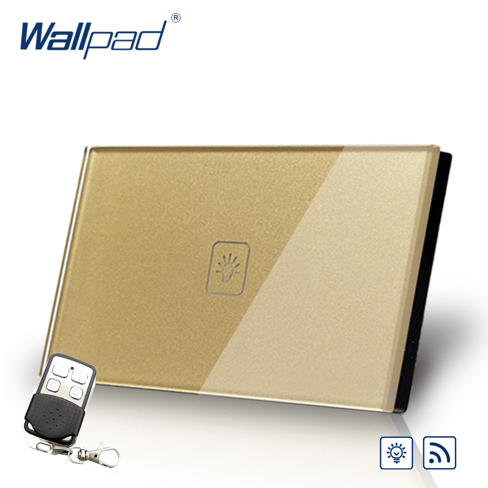 Remote Dimmer Wallpad US/AU Standard Touch Switch AC 110~250V Gold Wall Light Switch With Remote Controller remote fan speed regulator wallpad eu standard touch switch ac 110 250v wall light switch with remote controller