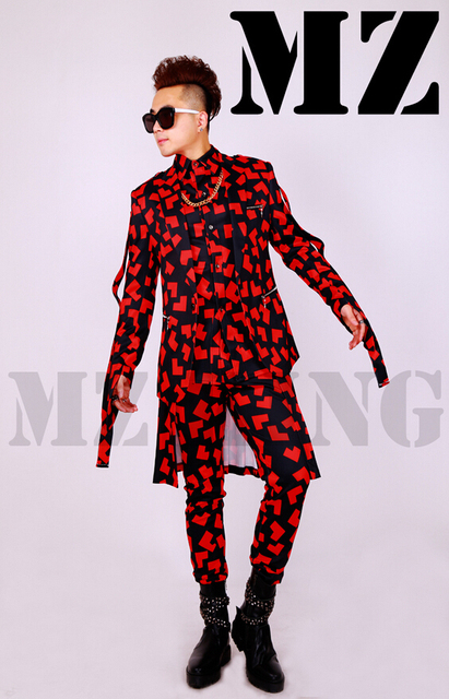 Men's new Bar nightclub singer dj ds Male black singer DJ nightclub safflower zipper tape apron suit stage costumes clothing