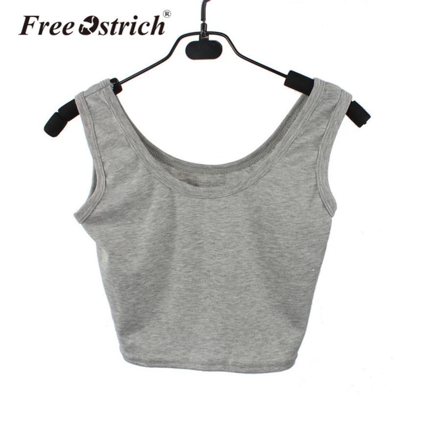 Free Ostrich Vest Crop Tops Sleeveless O-Neck Casual Summer White Skinny Tank Tops Fitness Dance Clothing Female Dropshipping