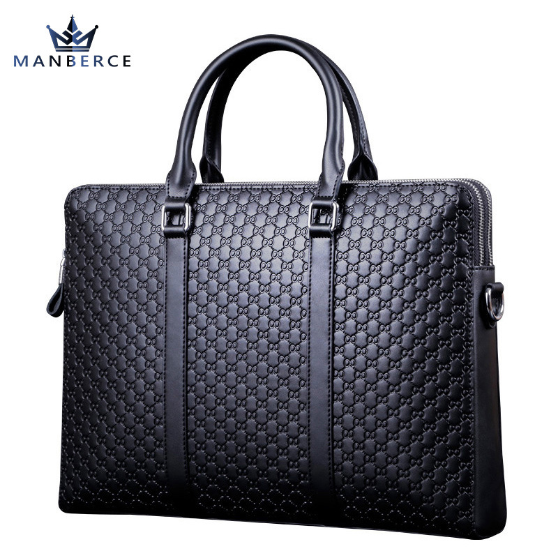 Portable commercial stamp pattern cowhide man bag leather briefcase luxury handbag