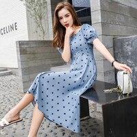 Women's Summer Dresses Retro Polka Dot Dresses 2019 Women's High waist Slash neck Knee Length Button Dresses