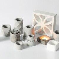기하학적 꽃 냄비 실리콘 금형 콘크리트 시멘트 3d 꽃병 수제 꽃 꽃 냄비 금형