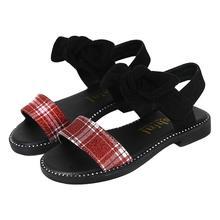 Летние детские сандалии; милые детские туфли в римском стиле на плоской подошве с бантом; повседневные пляжные туфли для девочек на мягкой подошве из искусственной кожи
