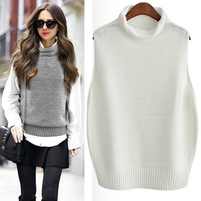 European Street Fashion Solid Color Women Vest Turtleneck Knitted Pullover  Sweater Vests Wool Sleeveless Sweaters Female Vest f71debdfd