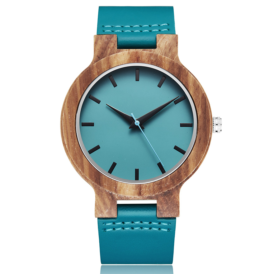 Creative Wood Watch Men Women Wood Watches Couple Watch Genuine Blue Leather Natural Brown Wood Clock Male Wooden Wristwatch