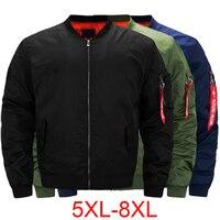 Spring Winter Large Big Size Pilot Bomber Jacket Men Plus Size 5XL 6XL 7XL 8XL Black