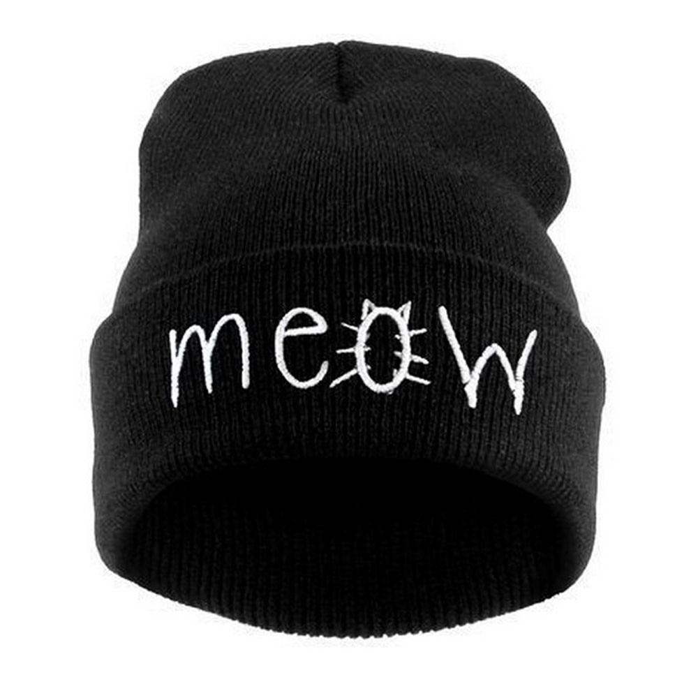 Winter Hat Crochet Outfits MEOW Beanie Hat And Snapback Bonnets En Laine #2457 2017 winter women beanie skullies men hiphop hats knitted hat baggy crochet cap bonnets femme en laine homme gorros de lana