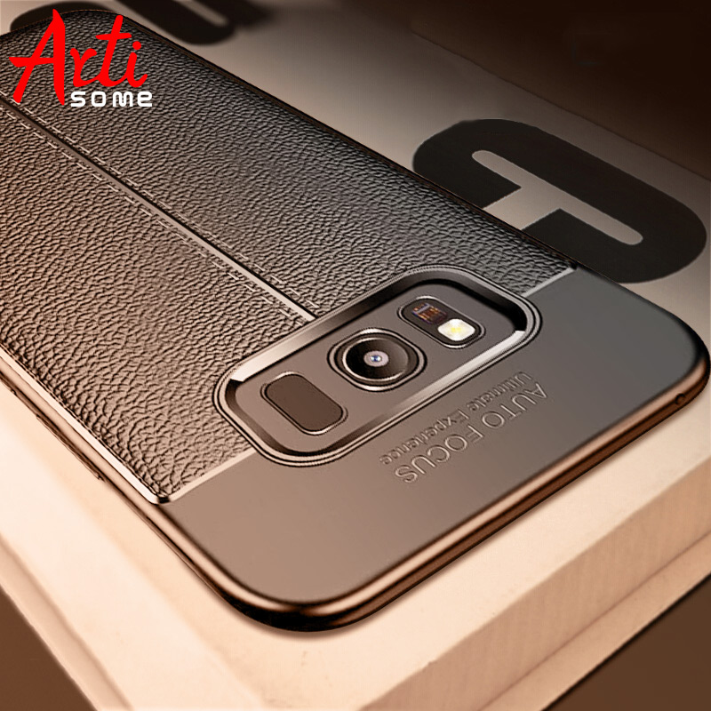 Galleria fotografica Carbon Case For Samsung Galaxy Note 8 9 S8 Plus Cover Leather TPU Soft Case For Samsung S8 S7 Edge A3 A5 A7 2017 J5 J7 2016 Case