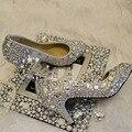 Dazzing 6 см Средний Каблук Ручной Леди Свадебное Платье Обувь Свадебная Обувь Алмазный Женщина Весна Вечернее Платье Обувь