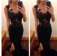 2018 Mermaid Arabic Black Lace Split Long Chiffon Longo long women prom beautiful cheap dresses bridesmaid dress