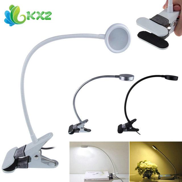 PC flexível USB LED lâmpada Quente/Frio Luzes brancas Cor Dimmable Clipe Cama Mesa Candeeiros de Leitura