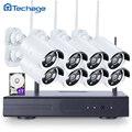 Techage plug and play 720 p wi-fi 8ch sistema de cctv hd sem fio NVR Kit IR Ao Ar Livre 8 PCS Câmera IP de Vigilância de Vídeo de Segurança Conjunto