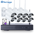 Techage plug and play 720 p wifi cctv sistema 8ch hd inalámbrico NVR Kit de Video Vigilancia IP de Cámaras de Seguridad Al Aire Libre IR 8 UNIDS Conjunto