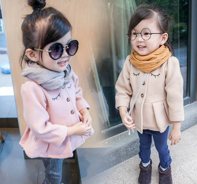2016 Autumn Winter New Girl Outerwear Eyelash Woolen Fashion Long Sleeve Coat Children Clothes 2-5Y DY8601