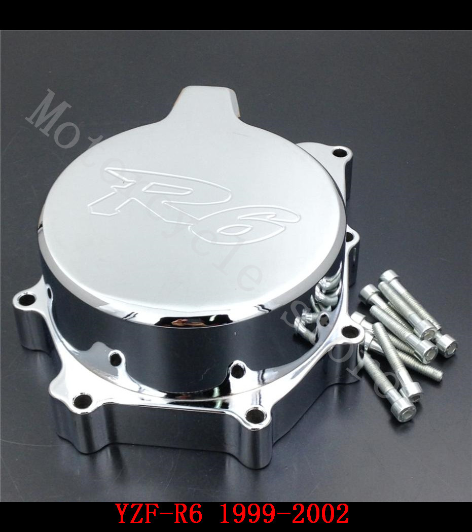 Fit for Yamaha YZFR6 YZF-R6 1999 2000 2001 2002 Motorcycle Engine Stator cover Chrome left side fit for yamaha yzf 600 r6 1998 1999 2000 2001 2002 yzf600r abs plastic motorcycle fairing kit bodywork yzfr6 98 02 yzf 600r cb20