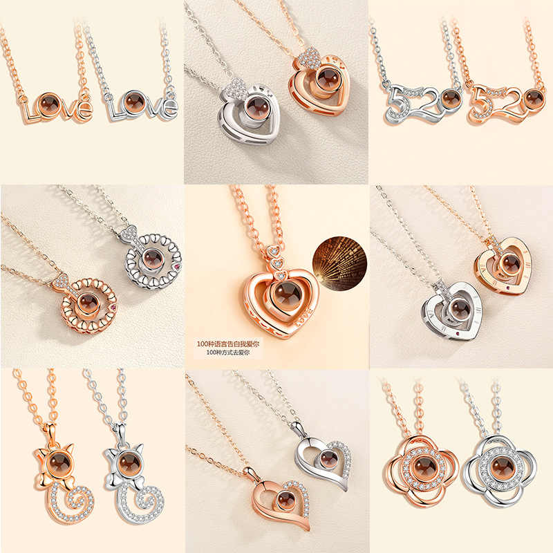 2018 New Rose Gold Silver 100 Language I love You Necklace Memory Projection Pendant Wedding Letter Necklace Drop Shipping