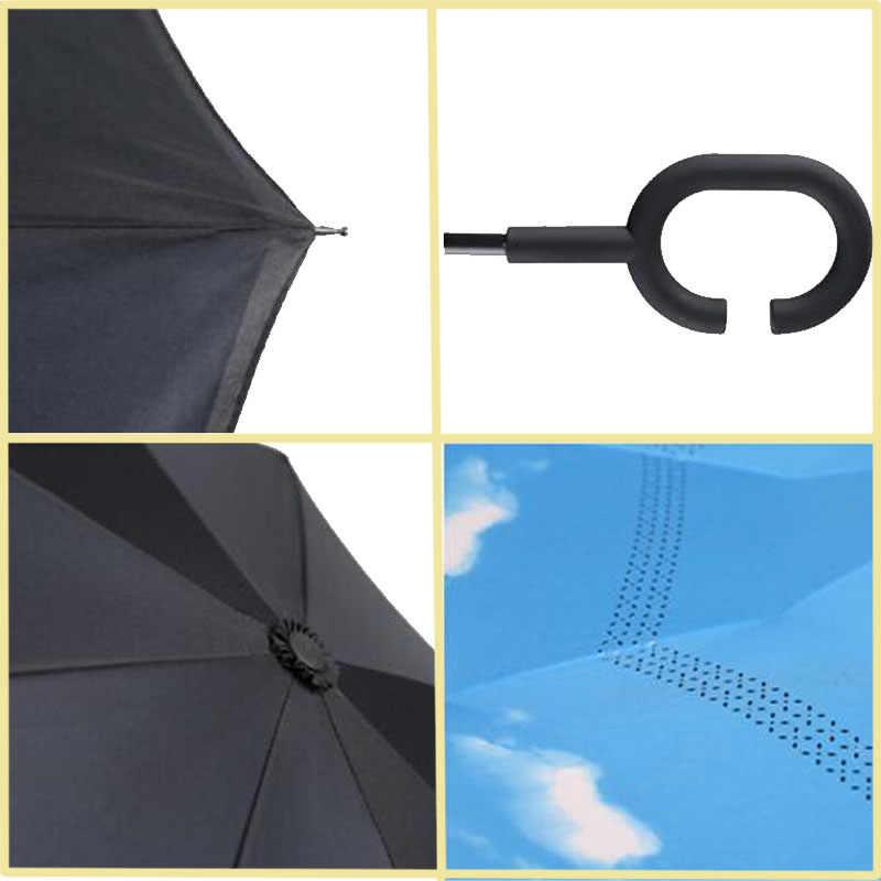 4167db7e8269 Yesello Folding Reverse Umbrella Double Layer Inverted Windproof Rain Car  Umbrellas For Women