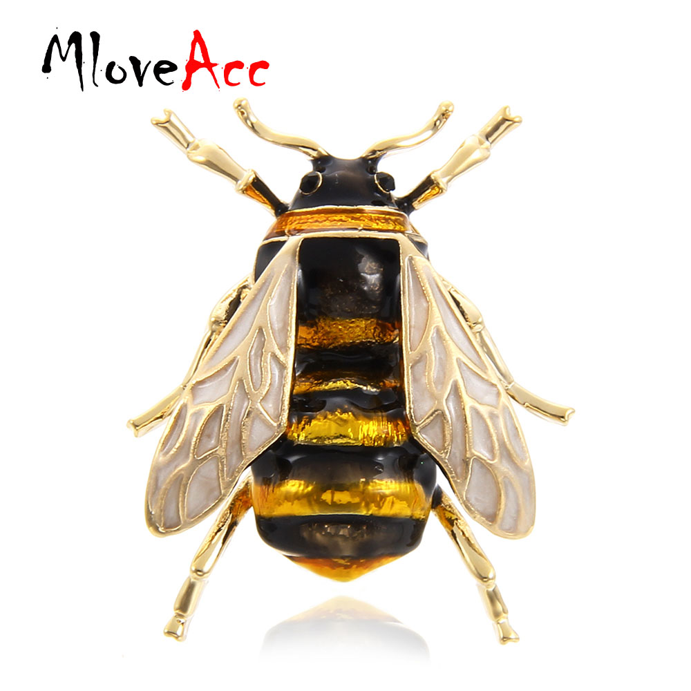 MloveAcc Cute Bee Fly Insect Brooch Kids Girls Clothes Accessories Gold-color Black Yellow Enamel Brooches Birthday Gifts