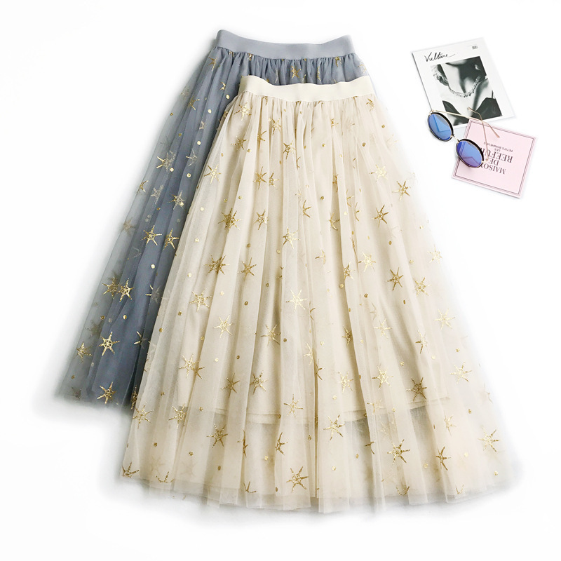 c4fbe9d512b Wasteheart Blue Khaki Women Skirts Women High Waist Pleated Embroidery Ankle  Length Skirt Ball Gown Chiffon Clothing Plus Size-in Skirts from Women s ...