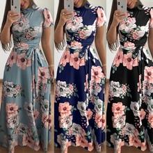 Womens Floral Maxi Dress Short Sleeve Evening Party Summer Beach Long Dresses Printed Boho Sundress New Fashion Streetwear